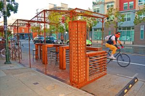 This parklet is one of several along a 2-block stretch in The Mission. It provides extra seating and bicycle parking for an iconic San Francisco establishment, Four Barrel Coffee. (photo credits to Christopher Berggren)