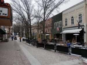 Charlottesville's pedestrian mall, early on a cold winter morning, before the day's activities heat it up.
