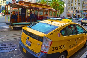 Both of these transportation forms are common around Union Square. But while the drivers for one encourage you to hop on and off at leisure, the drivers of the other typically blow right by you without stopping. (Photo credit to Christopher Berggren)