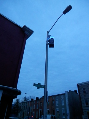 One of the flashing blue cameras that have been put by police onto lamp poles in high-crime areas.